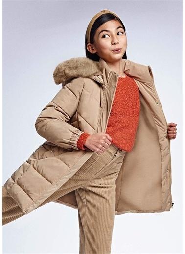 Mayoral Mayoral Kız Çocuk Kürk Kapişonlu Kışlık Mont Bej